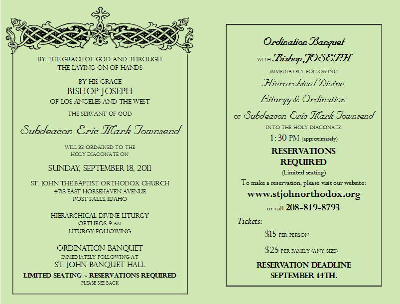 Ordination To Deaconate Sept 18th In Post Falls Idaho