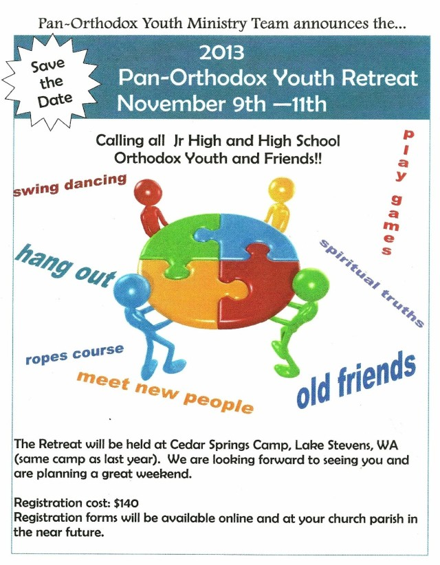Pan-Orthodox Youth Retreat Nov 9-11 2013