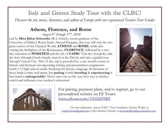 Visit Italy + Greece with the CLRC_Flyer