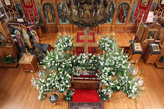 Holy Saturday Liturgy the Tomb decorated St Nicholas Cathedral 2014.